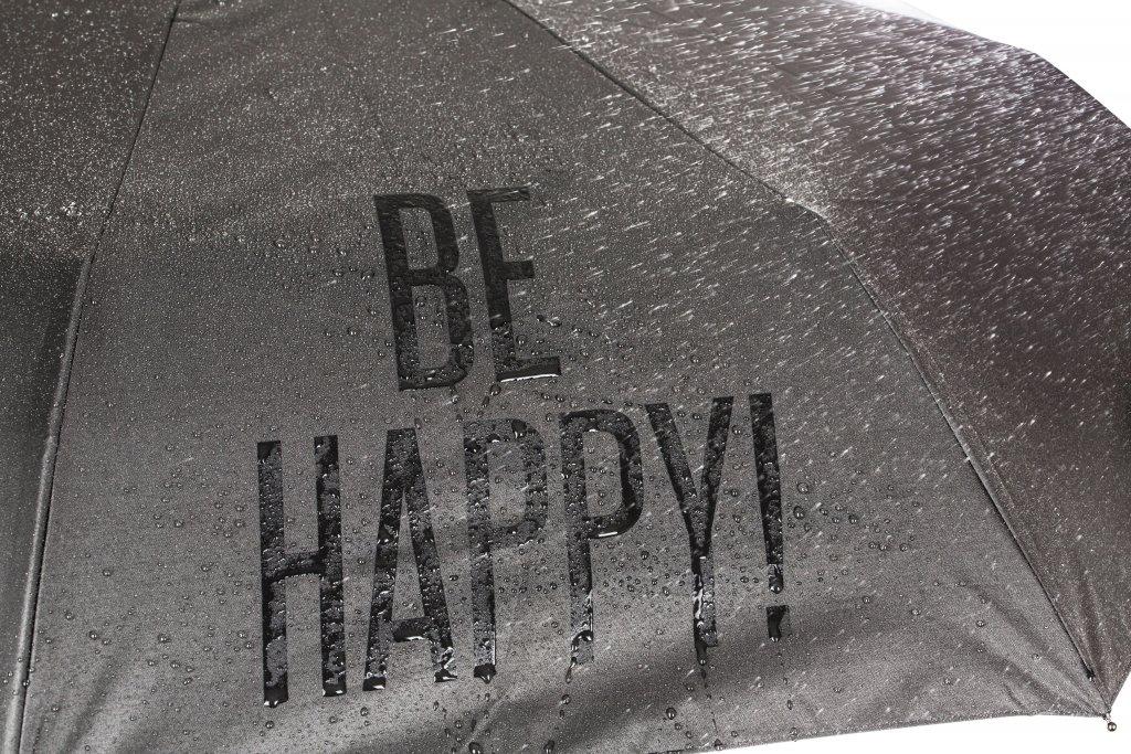 Paraply Be Happy fra Happy Sweeds med bilde av sort paraply med tekst Be Happy