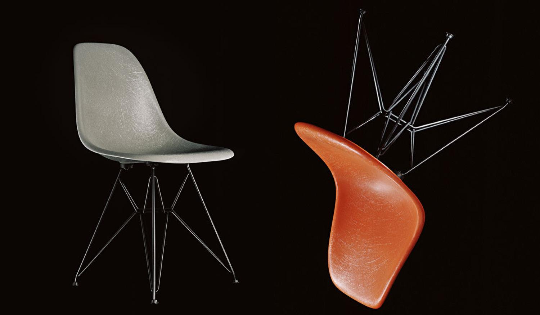 Eames Fiberglass stol i oransje og grått fra Vitra