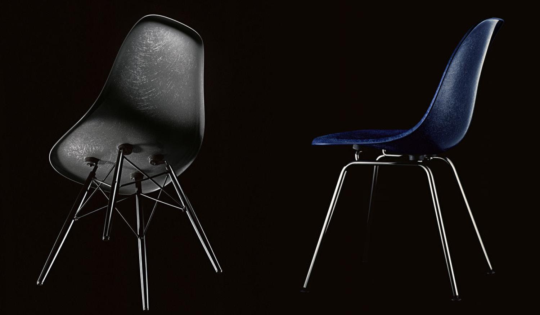 Eames Fiberglass stol i sort og blått fra Vitra