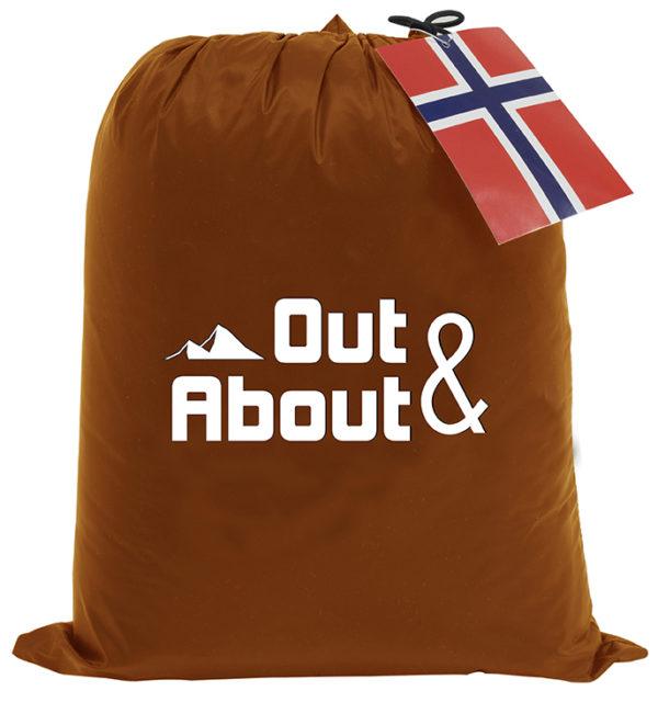 Dun pledd oppbevarings-pose i oransje fra Norsk Dun