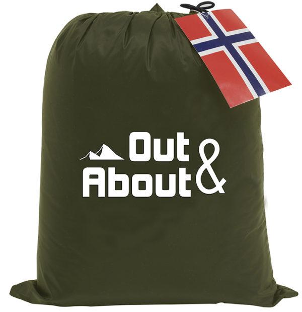 Dun pledd oppbevarings-pose i grønn fra Norsk Dun