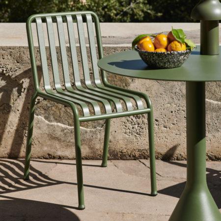 Palissade Chair olive_Palissade Cone Table olive_Enamel Serving Bowl sprinkle black