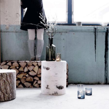 Miljøbilde av sittepuff Bjørk med bjørkemønster fra norske Ygg & Lyng.