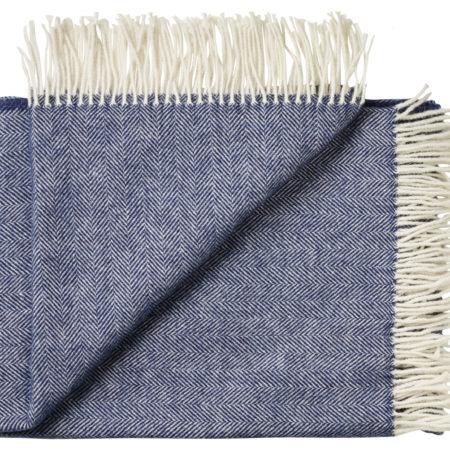 Sevilla ullpledd fra Silkeborg, produktbilde av fargen Deep Ocean Blue