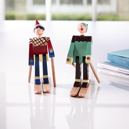 Trefigurer fra Kay Bojesen forestillende skiløper Dutti og Boje.
