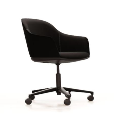 Softshell Chair five star base i sort pulverlakkert aluminium og sort skinnsete fra Vitra