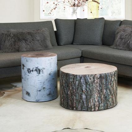 Miljøbilde av sittepuffer med bjørke- og furumønster fra Ygg & Lyng.